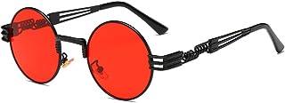 BOZEVON Retro Steampunk Style inspiré Round Metal Circle Lunettes de soleil pour femmes et hommes