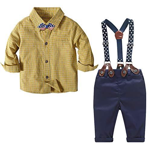 Nwada Weihnachten Baby Kleidung Alter 9-12 Monate Kinder Party Kleidung Gelb Kariertes Hemd + Hose + Fliege + Straps Set