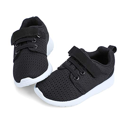 HIITAVE Toddler Boys Shoes Boys' Trail Running Sneakers Athletic Tennis Shoes for Fall,School Black/White 5 M US Toddler