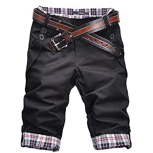 RH-ZTGY Hommes Casual Summer Plaid Patchwork Patchwork Buttons Cinquième Pantalon Loose Beach Shorts Hommes Casual Short Summer Mens Pantalon,Noir,M