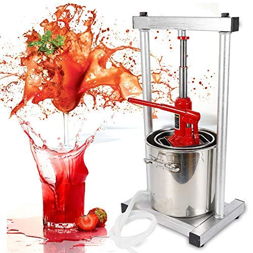 DONNGYZ 12L Stainless Steel Fruit Press Cider Juice Maker Fruit Grinder Wine Press Grinder Wine Making Crusher with Hydraulic Jack