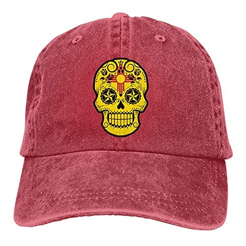Bokueay Nuevo México Sugar Skull Sports Gorra de Mezclilla Ajustable Snapback Unisex Llanura Sombrero de Vaquero de béisbol Estilo clásico