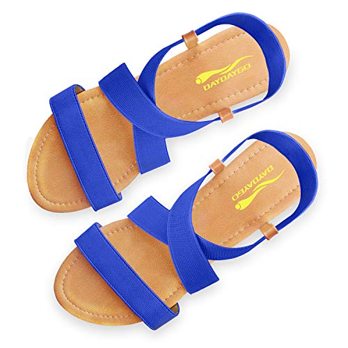 Sandals For Women │ Cute Comfortable Flat Sandals With Elastic Strap│Durable Slip On Womens Sandals Clearance│Ladies Boho Cushion Shoes For Summer Fashion Casual (Navy Blue, Size 7)