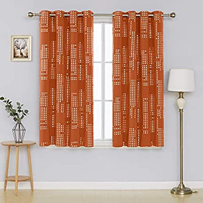 Deconovo Blackout Curtain Room Darkening Thermal Insulated Draperies Grommet Window Treatments for Bedroom, 52x63 Inch, Orange