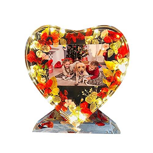 Personalice el marco de fotos de cristal en forma de corazón romántico Imagen personalizada Luz Lámpara de flor eterna(rojo 5.91 * 5.91 IN)