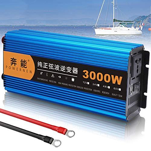 QTCD Pure Sine Wave Power Inverter DC 12V/24V to 220V 230V 240V AC Converter, Peak Power 3000W 4500W 6000W 8000W 12000W, Truck Voltage Converter with AC Outlets & USB,24V-3000W