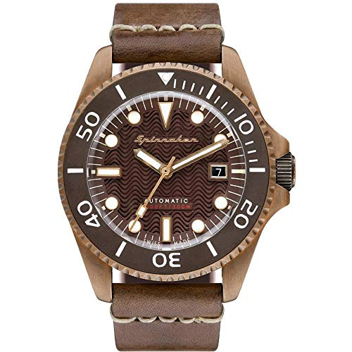 SPINNAKER Men's Tesei 42mm Brown Leather Band Metal Case Sapphire Crystal...