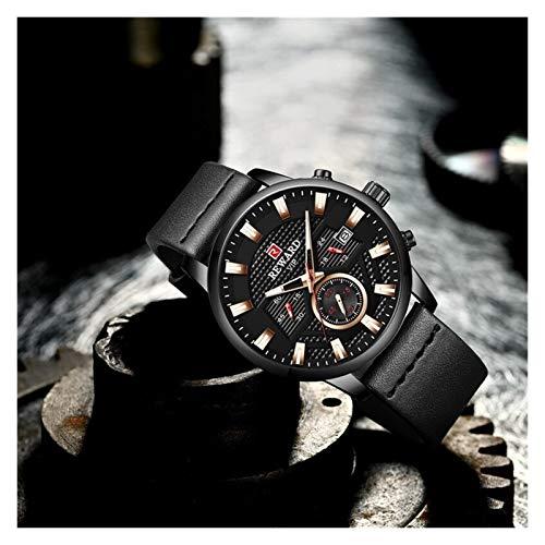 JCCOZ-URG Tapa de la Manera Hombres del Reloj de Lujo de la Marca a Prueba de Agua los Hombres del cronógrafo de los Relojes del Cuarzo del Deporte Reloj de Pulsera URG (Color : Gold Blue)