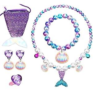 Girl's Mermaid Necklace, MTGOCHA Pearl Necklace Bracelet Ring Jewelry Set for Girls Birthday Christmas Gift Mermaid Theme Party Pendant Necklace for Girls Princess Jewelry Accessories Mermaid (Purple)