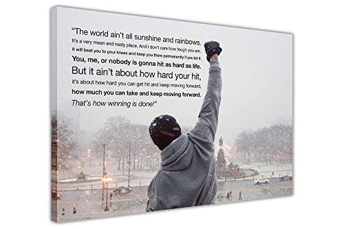 """Kunstdruck auf Leinwand, Motiv: Rocky Balboa mit Zitat, Wanddeko Europäisch 9- A0 - 40\"""" X 30\"""" (101CM X 76CM)"""