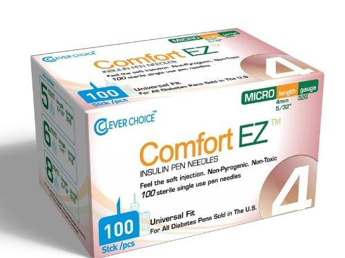 Comfort EZ Insulin Pen Needles, 32G 4mm - 100 per Box