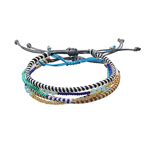 Jeka Handmade Waterproof Friendship Braided Bracelets for Women Girls Colorful Cords Wrist Wrap Adjustable Family Friends 3 Pcs