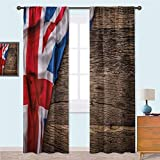 YUAZHOQI Union Jack Bedroom Curtains Flag on Oak Board Blackout Curtains for Living Room/Bedroom 52' x 84'