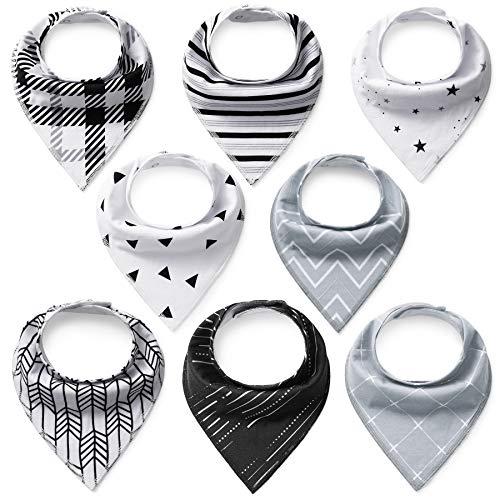 Lätzchen Baby 8er Dreieckstuch Unisex Spucktücher Saugfähig Weich mit 2 Verstellbares Druckknöpfen Halstücher für Jungen und Mädchen 100% Baumwolle von FUTURE FOUNDER