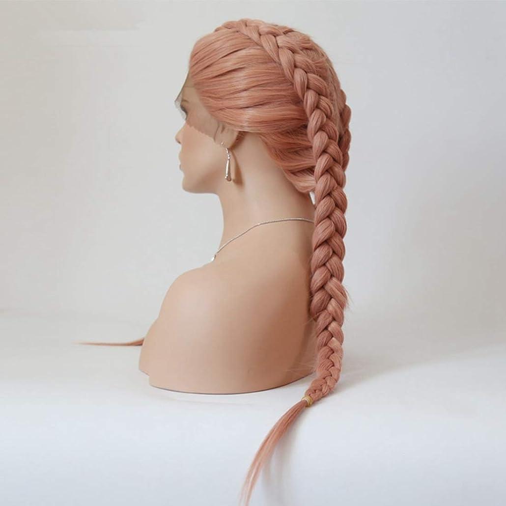 BOBIDYEE フロントレースかつら女性のヨーロッパとアメリカの長いストレートの髪のピンクの化学繊維の髪のサソリの汚れたかつら合成の髪のかつらロールプレイングかつら (サイズ : 18 inches)