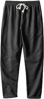 Xmiral Pantaloni Casual Uomo Invernali Nuovo Stile semplici e alla Moda in Puro Cotone e Lino