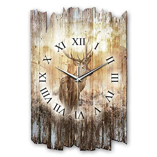 Kreative Feder Hirsch Shabby Style Designer Wanduhr Uhr aus Holz *Made in Germany leise ohne Ticken WH003L (leises Quarzuhrwerk)