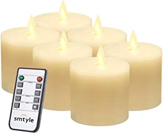 smtyle Halloween Led Flameless Candles for Fireplace Candelabra or Desk Decor Flickering White Light Moving Flame Wick Pillar Candle with Remote Control Timer Ivory 3x3 in Flat Top 6
