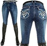 HKM Pantaloni da Equitazione per Adulti Pasadena-Summer Denim in Silicone, 6100, Colore: Blu Jeans 6100, Taglia 36