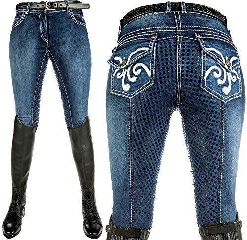 HKM Erwachsene Reithose -Pasadena-Summer Denim Silikon-Vollbesatz6100 jeansblau48 Hose, 6100 jeansblau, 48