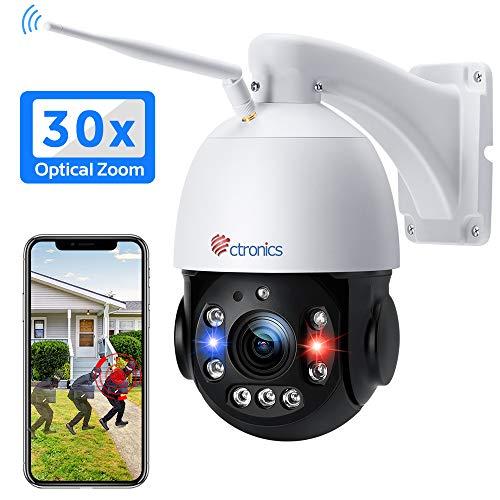 Ctronics 5MP WLAN Überwachungskamera PTZ Aussen IP Kamera HD Video Kamera Menschenerkennung IR-Nachtsicht Bewegungserkennung IP66 wasserdicht Unterstützt SD-Karte 30x Optical Zoom