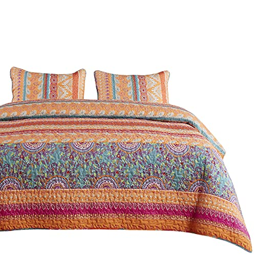 Wake In Cloud - Bohemian Quilt Set, Orange Coral and Green Boho Chic Mandala Pattern Printed, Soft Microfiber Bedspread Coverlet Bedding (3pcs, King Size)