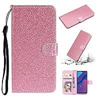 電話ケース カードスロット&ホルダー&フォトフレーム&財布&ストラップ付きグリッターパウダー水平フリップレザーケース (色 : ピンク)