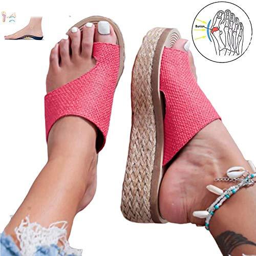 XXZ Bunion Splints,Sommer Damen Sandalen Flach Big Toe Hallux Valgus Orthopädische Bequeme Flip Flops für die Behandlung,Rot,37