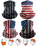 Yemo [4 Pack] Unisex Sun UV Protection Cooling Face Scarf Cover Mask Neck Gaiter, Headband Fishing Mask, Reusable Breathable Bandana Balaclava, Motorcycle Face Cover for Men Women (4 US Flag-6)