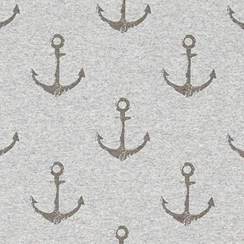 Fabulous Fabrics Sommersweat Anker – hellgrau — Meterware ab 0,5m — Oeko-Tex Standard 100 Produktklasse I — zum Nähen von Sweatshirts, Kleider und Röcke