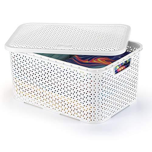 Caixa Organizadora com Tampa Mosaico 16 Lts , Arthi, Branco