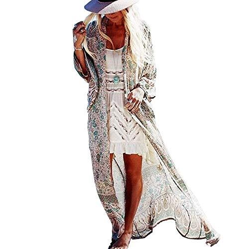 SIEBENEINSY Damen Boho Strand Badeanzug Bedecken Pareos Kimono Cardigan Morgenmantel Lange Bluse Bikini Umhang Vintage Bademode Sommerkleid