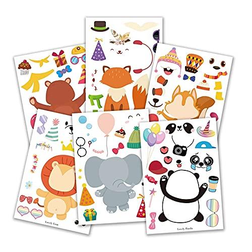 PMSMT 6 Hojas de Pegatinas de Animales de Dibujos Animados Bonitos a Granel DIY Haz tu Propia Pegatina de zoológico favores de Fiesta de cumpleaños Suministros de Juegos para niños