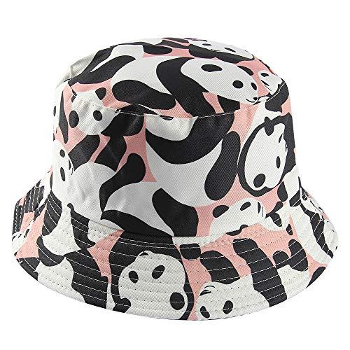 JXMK Cappello da pescatore con Cappello da pescatore reversibile con Motivo a mucca in Bianco e Nero
