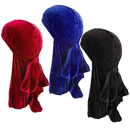 Durag Gorro,Sombrero musulmán,3 Piezas de Terciopelo Durag Gorro Cola Larga Dos Tonos de Gorro de Pirata de Cola Larga para Hombres Mujeres Mujer Slouch Beanie Hat para Deporte
