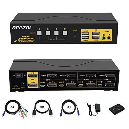 DEPZOL 4 Port KVM Switch Dual Monitor DisplayPort 4K 60Hz, 4 Computer 2 Monitore Tastatur Maus Switch Box mit USB 2.0 HUB und Kabels 642DP