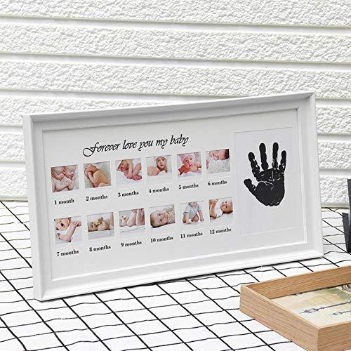 Leuke Baby fotolijst DIY Handprint of Voetafdruk 12 Maanden fotolijst Baby Jongen Meisje Mijn 1 Een Jaar Wit Blauw Roze Ambachtelijke Inkt One size Kleur: wit