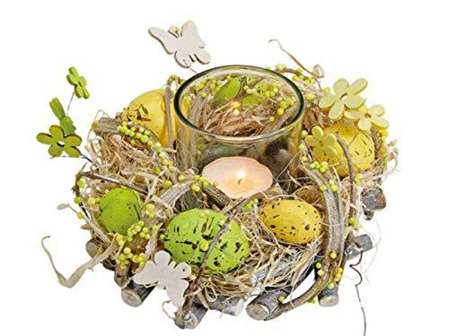 meindekoartikel Deko Kranz mit Blüten und Eier aus Holz und Kunststoff mit Teelichthalter Ø16xH9cm
