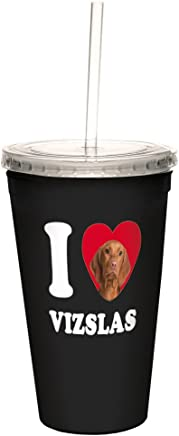 Tree-Free Greetings CC35136 I Heart Vizslas Artful Traveler Double-Walled Cool Cup with Reusable Straw,  16-Ounce
