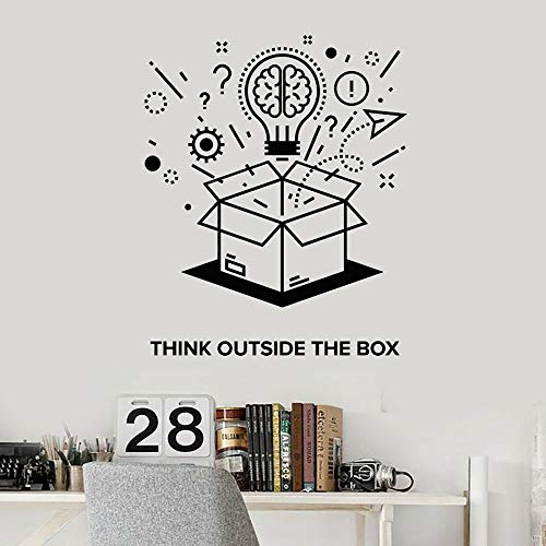 Etiqueta de la pared de texto pensar fuera del marco frase cerebro vinilo etiqueta de la ventana dormitorio del estudiante decoración del aula