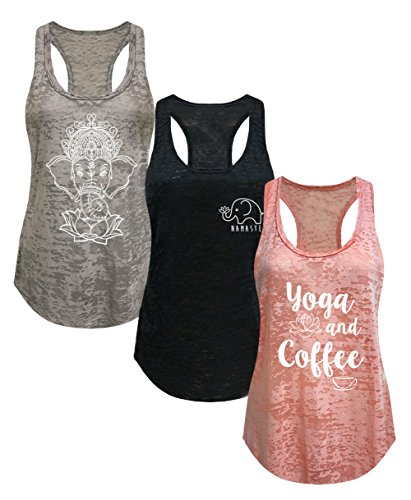 Tough Cookie's Women's Burnout Elephant Lotus Small Yoga Coffee Tank Top 3 Pack (Medium - LF, Heather Grey/Peach/Black)
