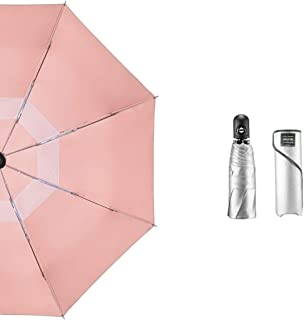 Fully Automatic Umbrella Sun Umbrella Compact Umbrella UV Protection Sunscreen Lightweight Portable Double Layer MJZDD (Color : Pink, Size : 96×61cm)