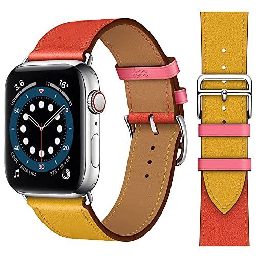 sresrrw Pulseras de Repuesto compatibles con Apple Watch Single Tour Correa de Cuero Genuino 38 mm 40 mm 41 mm para iwatch Series 7 6 5 4 3 2 1 SE (Single Tour Naranja+Amarillo, 38mm/40mm/41mm)