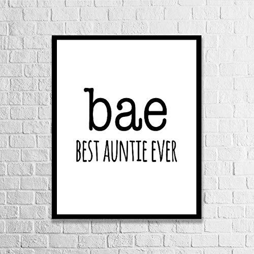 Blafitance Wood Framed Signs Bae, Best Auntie Ever Wooden Plaque Wall Art Posters Home Décor for Living Room Thanksgiving Christams Gifts 16x20