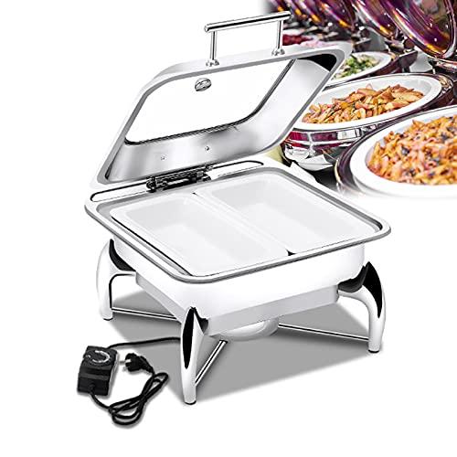 Chafing Dish Electrico para Buffet, Calentador De Alimentos De Acero Inoxidable, Bandeja de Acero Inoxidable/Cerámica 6L, Mango Anti-Quemaduras y Tira Antideslizante, Extraíble y Fácil de Limpiar