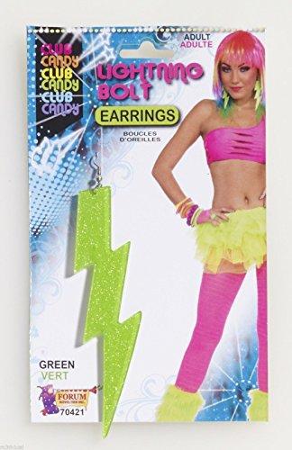 Neon Green Lightning Bolt Earrings