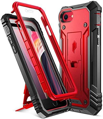 Poetic Carcasa Resistente Apple iPhone SE con Soporte, Cubierta Protectora Doble a Prueba de Golpes, Serie Revolution, Funda para Apple iPhone SE (versión 2020), Rojo Metalizado