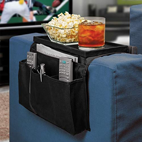 Non-slip Sofa Armrest Organizer with Cup Holder Tray Chair Arm TV Remote Holder for Recliner Couch Armchair Caddy Bedside Storage Pockets Bag for Cellphone Tablet Book Magazines Drinks Holder Pouch