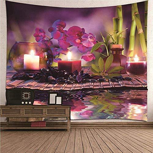 Zen Tema Tapiz de la habitación Gran Tapiz Vela Flor Dormitorio Sala de Estar patrón de bambú 150 cm x 200 cm