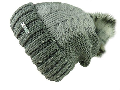 702PC Mütze Helen, Longbeanie mit Fell Pompon (kein Echtfell) kuschelweich gefüttert, Einheitsgröße (grau hellgrau)